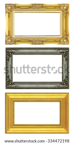 Set antique frame isolated on white background. - stock photo