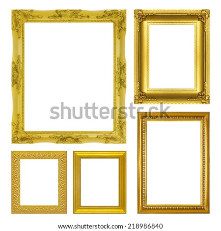 set antique gold frame isolated on the white background - stock photo