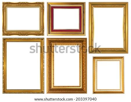Set antique golden frame isolated on white background - stock photo