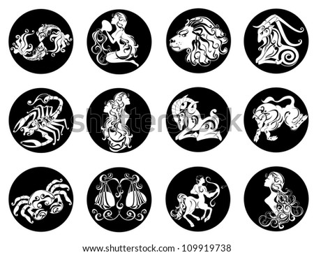 Set astrology sign. Illustrations of the twelve horoscope zodiac star signs - stock photo