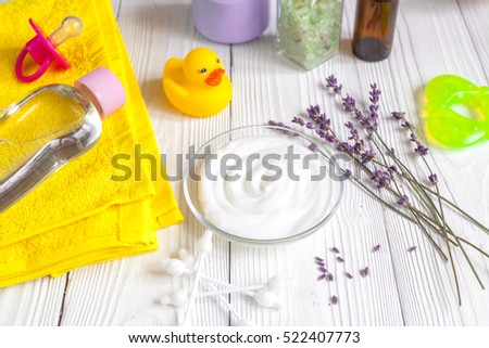 set baby care for bathroom on wooden background