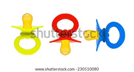 set baby's dummy isolated - stock photo