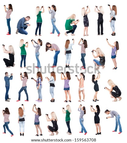 """Set """"Back view of man and woman photographing"""".  Rear view people collection.  backside view of person.  Isolated over white background. - stock photo"""