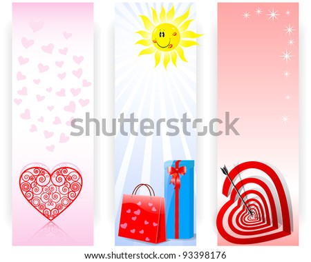 Set banners with a Smiling sun with lip print, Target with the shape of an heart and Gifts. Raster version.