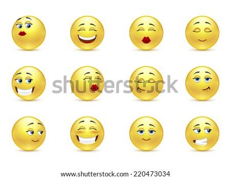 Set beautiful funny smiles - stock photo