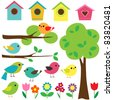 Set birds with birdhouses, trees and flowers. Raster version. - stock photo