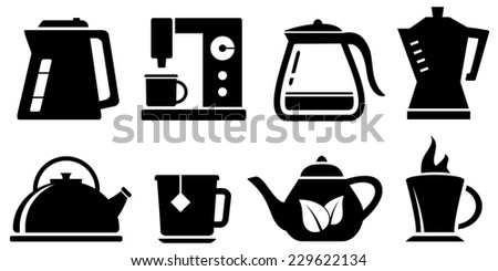 set black kettle icon for coffee and tea appliances - stock photo