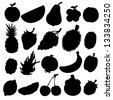 Set black silhouette various fruits on a white background. Abstract design logo. Logotype art - raster version - stock photo