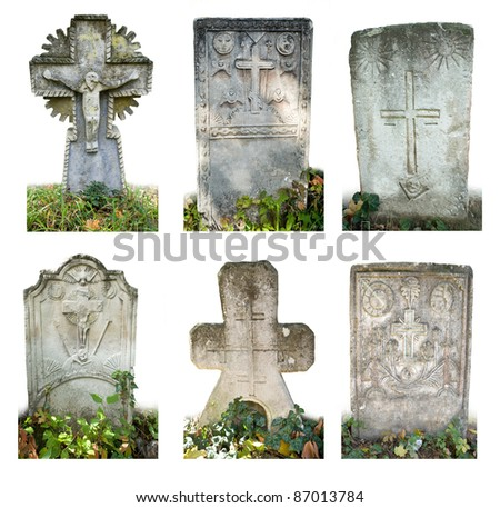 Set Blank old graves isolated on white background - stock photo