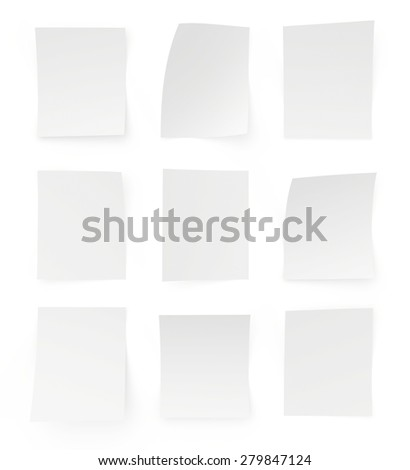 Set blank sheets of paper on white background