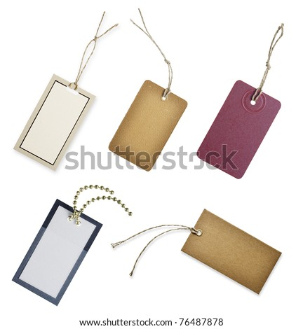 set blank tags isolated on white - stock photo