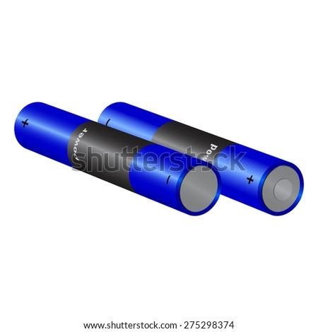 set blue battery isolated on white background. raster illustration - stock photo