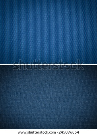 set blue fabric texture. coarse canvas background - closeup pattern
