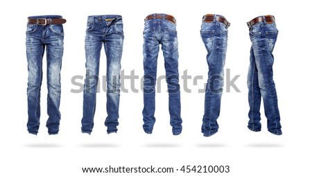 Set Blue Jeans with a belt the teenager isolated.