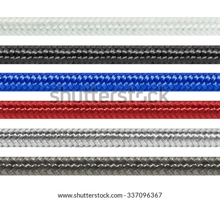 Set braided textile cables (white, black, blue, red, silver, graphite),  isolated on white background