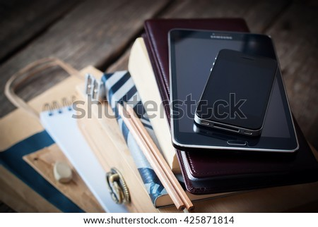Set Business Men Black Accessories Digital Gadgets Home Wooden Table Tablet Phone Paper Different Stuff Stack - stock photo