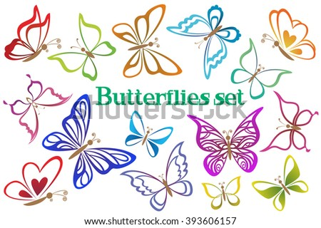 Set Butterflies Pictograms, Colorful Contours Isolated on White Background.