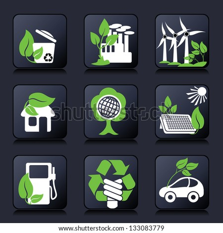 set buttons of environment protection and renewable sources of power