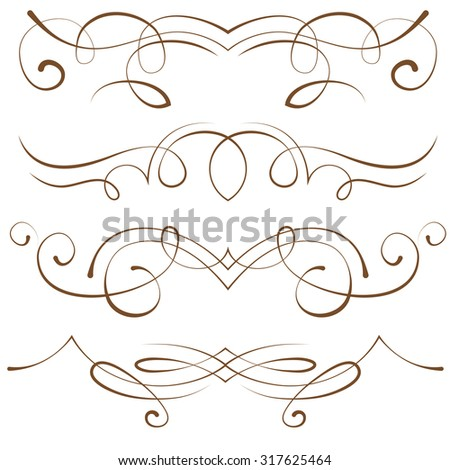 set: calligraphic design elements and page decoration - stock photo