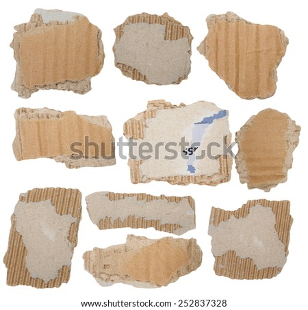 Set Cardboard Scraps isolated on white background - stock photo