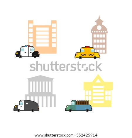 Set cars and buildings. Police and Police Station. Taxi and train station. Hearse and crematoriums. Public buildings and utility vehicles - stock photo