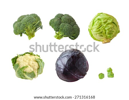 Set Cauliflower, Brussels cabbage, Broccoli isolated on a white background - stock photo