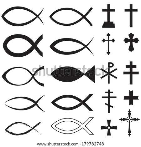 Set Christian fish symbol and different crosses - stock photo