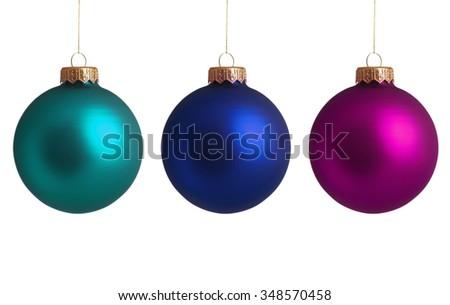Set Christmas baubles isolated on white background - stock photo