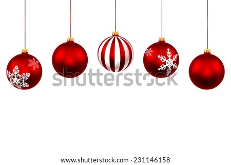 Set Christmas Red Ball. Decorations with ribbon isolated on white background. Illustration. - stock photo