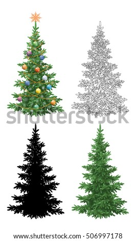Set Christmas Trees, with Holiday Decorations, Star, Snowflakes, Balls and Garland, Green Naturalistic and Black Contours and Silhouettes Isolated On White