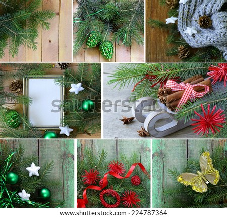 set Christmas wooden backgrounds with fir tree and decorations