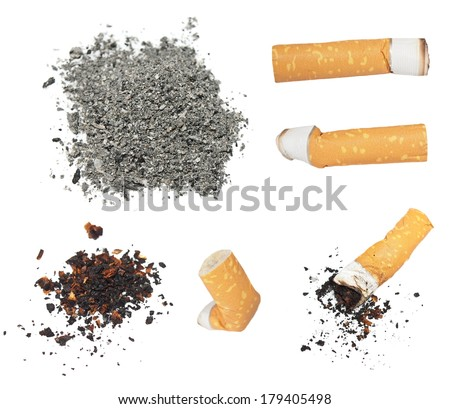 Set Cigarette butts and ashes from tobacco isolated on white background, texture - stock photo