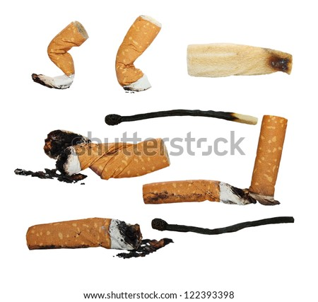 Set Cigarette butts, matches,  isolated on white background, texture - stock photo