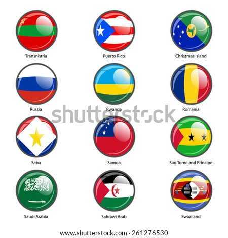 Set circle icon  Flags of world sovereign states.  illustration.
