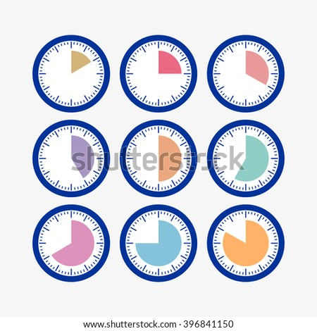 Set clock with the timer. A set of movements. Conceptual image of the clock. Time intervals. The length of time to perform business tasks. time clock - stock photo
