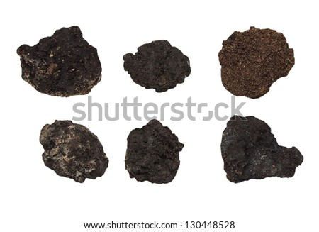 set clods of soil isolated on white - stock photo