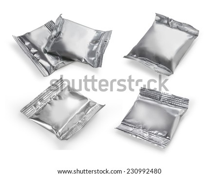 set close up of an aluminum bags on white background.  - stock photo