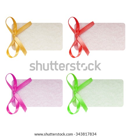 Set close up of card note with ribbon on white background Blank old paper price tag or label isolated.