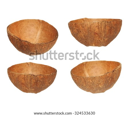 set coconut fruit shell cut in half isolated on white background, design element with clipping path - stock photo