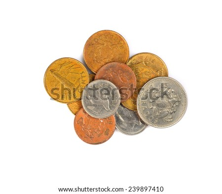 set coins Barbados - stock photo