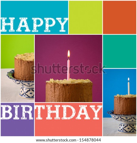 Set Collage Chocolate birthday party cake with almond flakes and burning candle on antique ceramic stand with blue pattern, purple background, white canvas