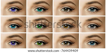 Set Collage Different Types Color Contact Stock Photo