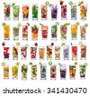 set collection and compilation of fresh infused water isolated over white background - stock photo