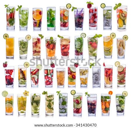set collection and compilation of fresh infused water isolated over white background