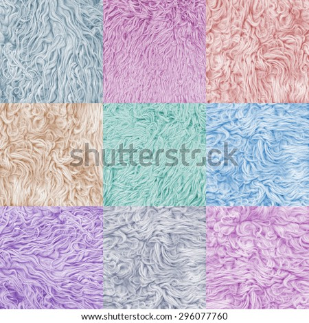 Set collection, 9 nine colorful fur texture. Abstract backgrounds. Boho, bohemian, retro, vintage style. Beige and coral, pink purple, blue, grey, green color carpet. Soft pastel color - stock photo
