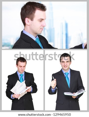 Set (collection) of european businessman.  Isolated over white background. - stock photo