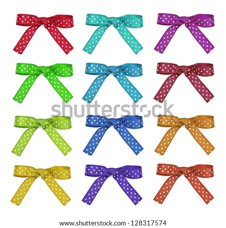 Set color and white polka dot ribbon and bow, isolated over white background - stock photo