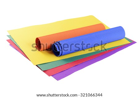Set color crepe paper isolated on white  - stock photo