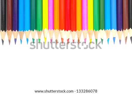 Set color pencils over white