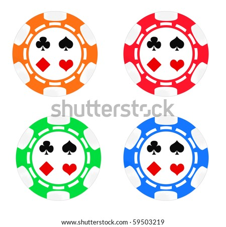 Set color poker chips. Isolated on white background